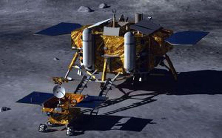 Ilustração da missão Chang E3 na Luna, com um módulo de descenso e um veículo rodante.