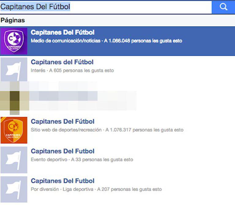 """Una busca por '""""Capitanes del Fútbol"""" mostra a página com mais de um milhão de seguidores, e outras com o mesmo nome que já foram eliminadas."""