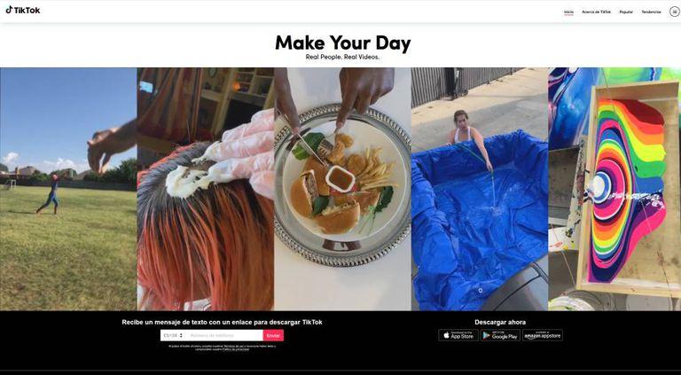 Imagem do site do TikTok.