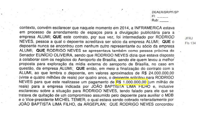 Cópia do depoimento de José Antunes Sobrinho, da Engevix, em 2018, no inquérito dos Portos.