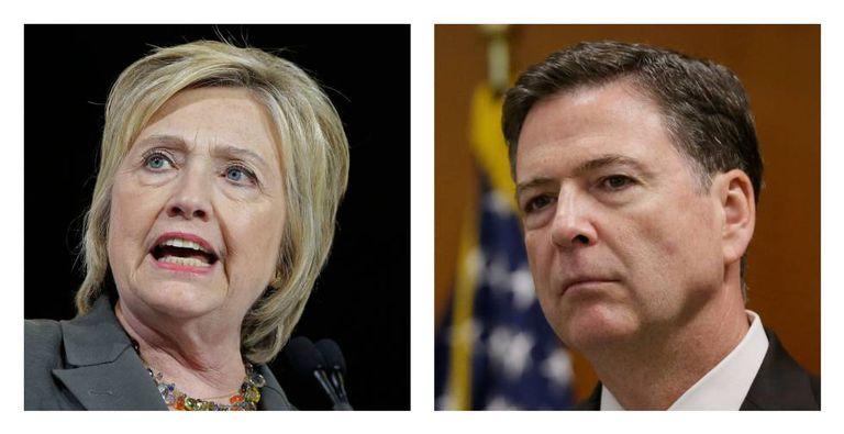 Hillary Clinton e o diretor do FBI, James Comey.