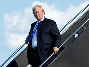 O presidente dos EUA, no aeroporto de New Jersey