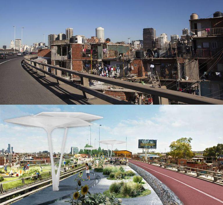 Antes e depois. O governo de Buenos Aires transformará em um parque elevado o traçado atual da autopista.