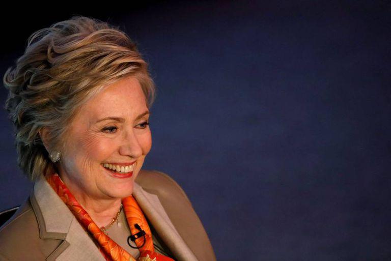 A ex secretária de Estado Hillary Clinton durante sua entrevista em Nova York.