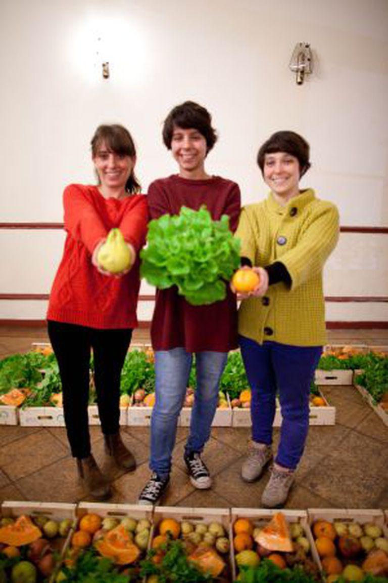 À esquerda, Soares, Canelhas e Batista, promotoras da cooperativa que vende a fruta que os agricultores não comercializam.