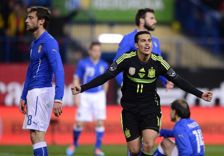 Pedro comemora o gol da Espanha contra a Itália.