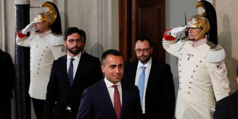 Luigi Di Maio depois de seu encontro com o presidente da República no Palácio do Quirinal.
