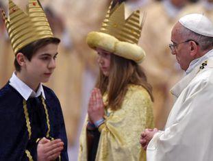 O papa Francisco em missa na Basílica de São Pedro.