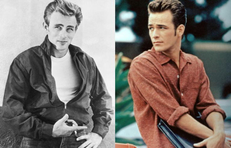 Não são a mesma pessoa: na foto em preto e branco é James Dean e na colorida é Luke Perry