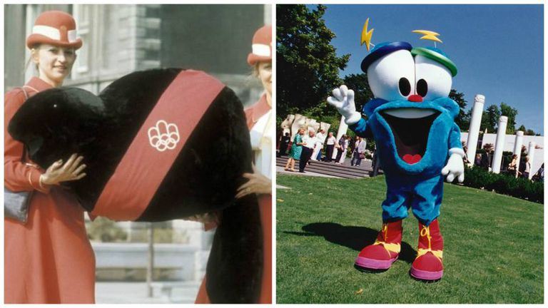 """À esquerda, Amik (que significa """"castor"""" em um idioma indígena), a mascote de Montreal, 1976. À direita, Izzy, a mascote dos Jogos Olímpicos de Atlanta, 1996"""