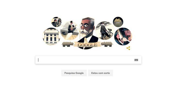 Doodle em homenagem ao escritor brasileiro Machado de Assis.