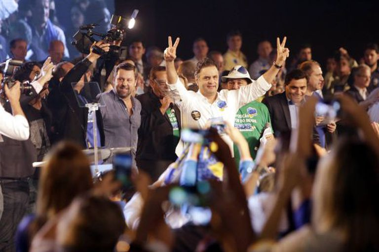 Aécio Neves durante a convenção do PSDB em Brasília.