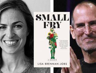 Lisa Brennan-Jobs, a capa de seu livro de memórias, e o pai, Steve Jobs.