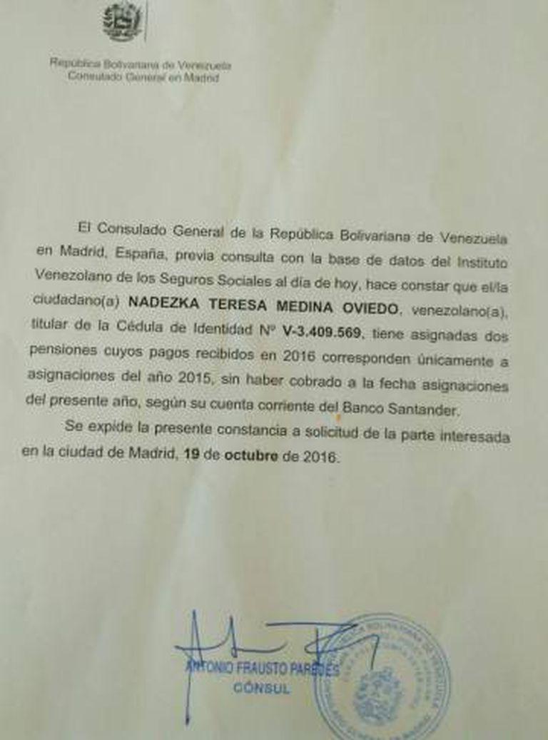 O Consulado de Venezuela em Madri acedeu a certificar que os aposentados não estão recebendo os pagamentos correspondentes a 2016.