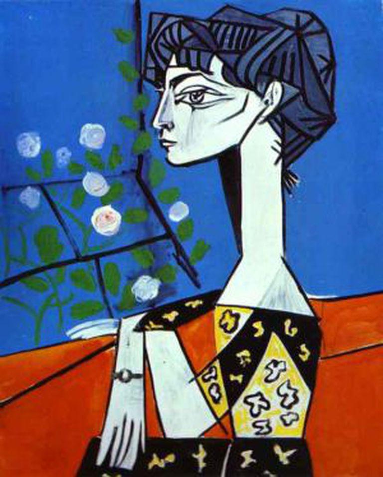 'Jacqueline com Flores', pintado por Picasso em 1954.