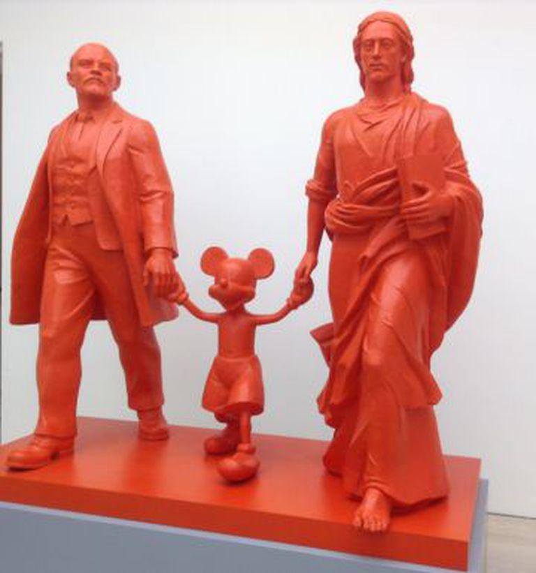 'Herói, Líder, Deus', obra de Kosolapov exposta na galeria Saatchi de Londres em 2014.