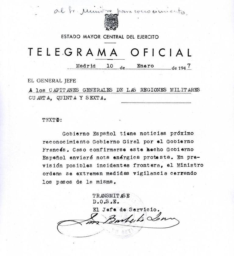 Telegrama de janeiro de 1947 que alerta sobre o possível reconhecimento do Governo republicano espanhol por parte da França.