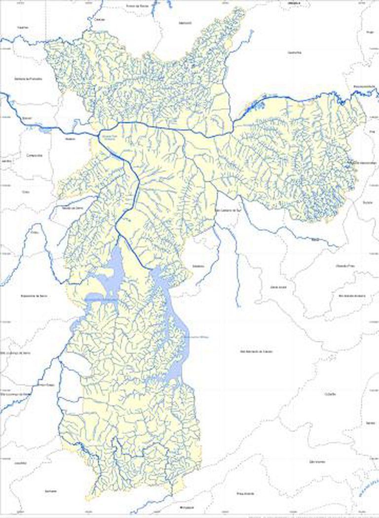 Mapa hidrográfico de São Paulo elaborado pela Fundação Centro Tecnológico de Hidráulica (FCTH) para a Prefeitura. Segundo ele, há 287 rios na cidade. Ativistas dizem que o número é subestimado.