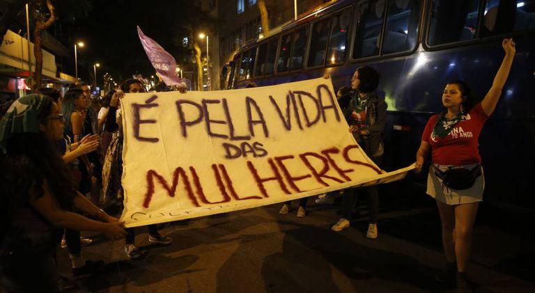 Manifestação no Rio de Janeiro pelo direito ao aborto, em agosto de 2018.