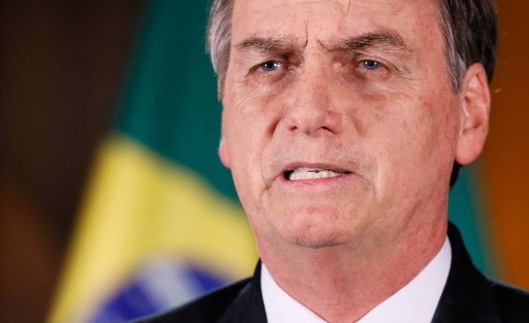 Bolsonaro durante o pronunciamento.