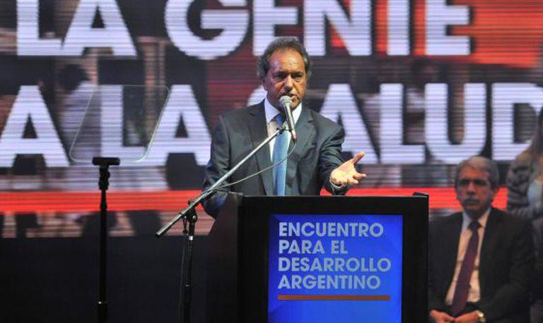 O candidato Daniel Scioli durante uma apresentação na segunda-feira passada.