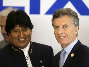 Evo Morales e Mauricio Macri, na cúpula.