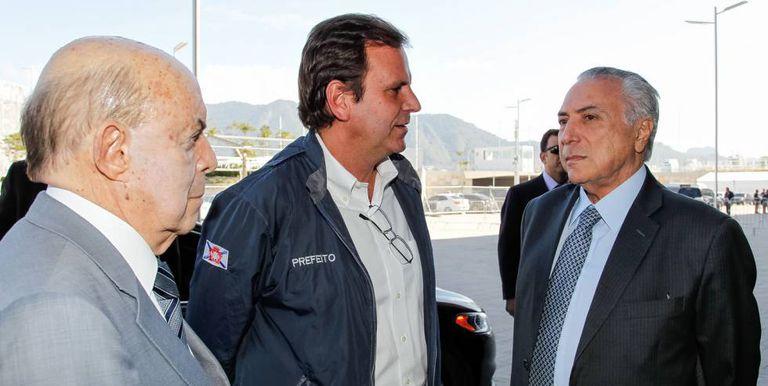 Governador Dornelles, Paes e Temer no Rio.