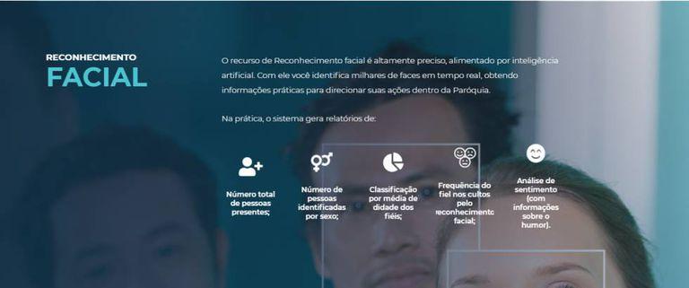 Site da Igreja Mobile apresenta utilidades do serviço de reconhecimento facial.