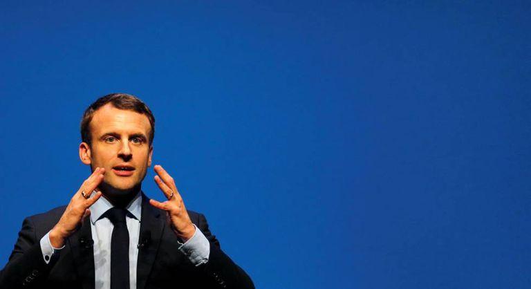Emmanuel Macron, candidato a presidente da França, durante comício nos arredores de Bordeaux.