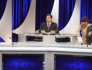 Aécio Neves e Dilma Rousseff em debate no SBT.