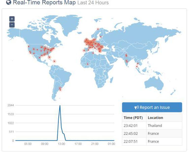 Em vermelho, a localização dos incidentes recolhidos pelo site currentlydown.com, durante a falha do Facebook na segunda-feira.