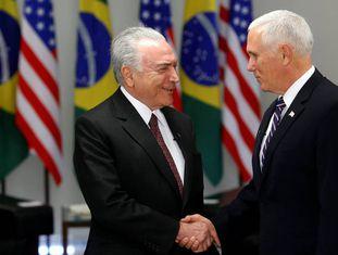 Temer e Mike Pence em Brasília.