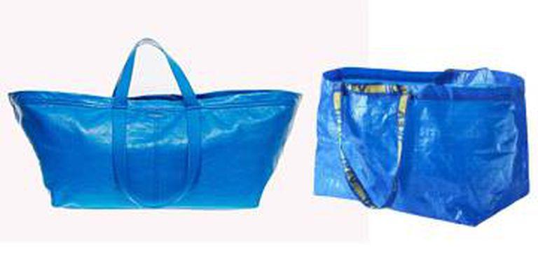 À esquerda, a sacola da marca Balenciaga, vendida por 1.700 euros. À direita, o saco de compras de 0,99 euros da sueca Ikea.
