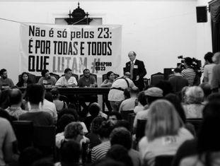 Ato contra condenação dos 23 manifestantes em julho do ano passado.