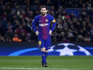 Lionel Messi durante a partida contra o Sporting no Camp Nou.