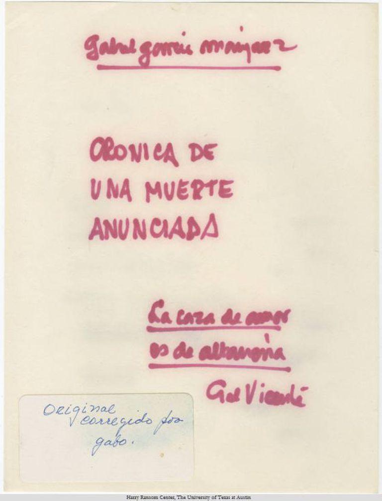 Original manuscrito e datilografado do romance 'Crônica de uma morte anunciada', de García Marquez.
