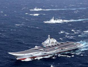 O porta-aviões chinês 'Liaoning' no mar do sul da China, no final de dezembro.