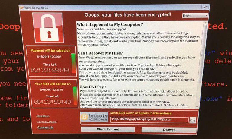 Tela de uma mensagem do sistema de saúde hackeado.