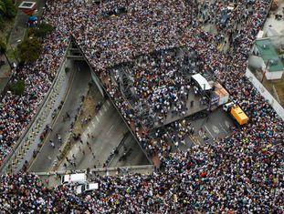 Protesto da oposição em Caracas.