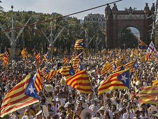 Manifestação nacionalista catalã em 11 de setembro de 2016.
