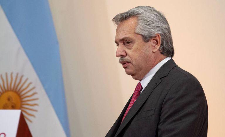 O presidente eleito da Argentina, Alberto Fernández, depois da reunião com seu colega mexicano, Andrés Manuel López Obrador, na Cidade do México.