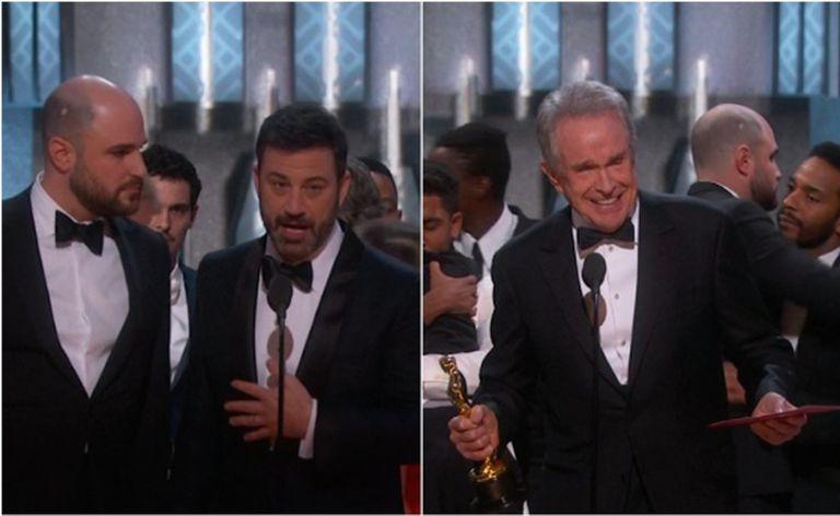 Jimmy Kimmel e Warren Beatty tentando explicar o que ocorreu