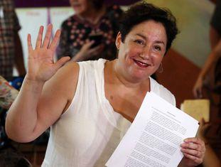A ex-candidata Beatriz Sánchez, semana passada, em Santiago.