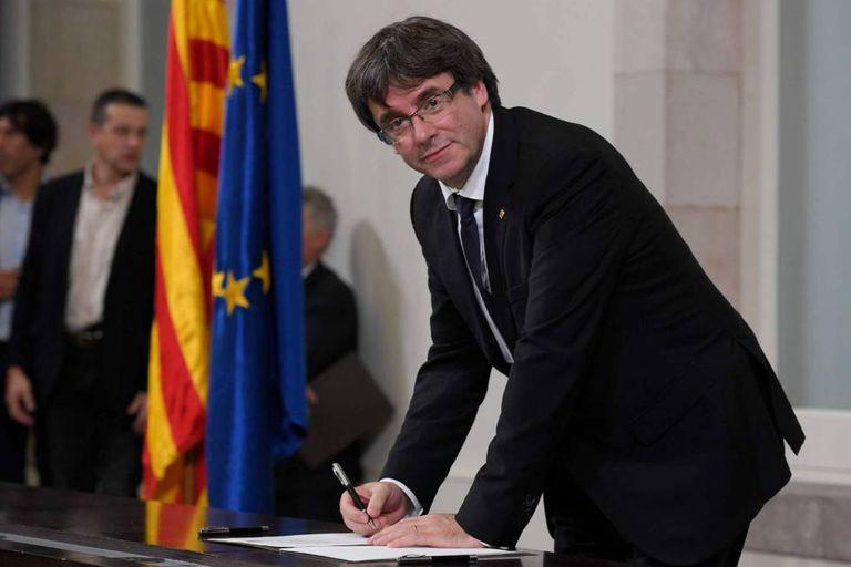 Puigdemont, em 10 de outubro no Parlamento catalão.