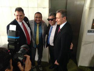 O presidente do sindicato da PF, Fernando Vicentino, o deputado Tirica, o japa da federal e o deputado Aluisio Mendes.