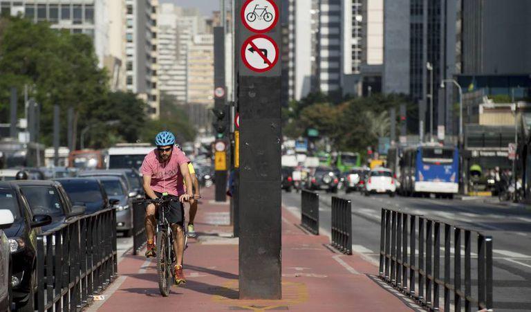 Ciclovia da avenida Paulista.
