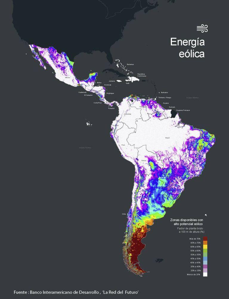 Potencial da energia eólica em América Latina.