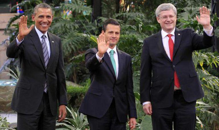 Obama, Peña Nieto e Harper, em Toluca.