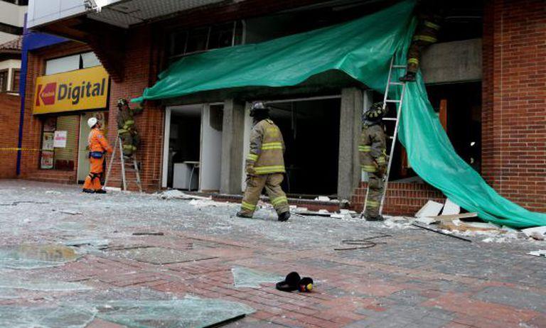 Sede da Porvenir em Bogotá depois da explosão.