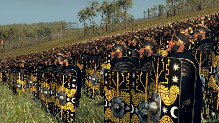 Os pretorianos posicionados para uma campanha, de acordo com a reconstrução de um jogo de computador.